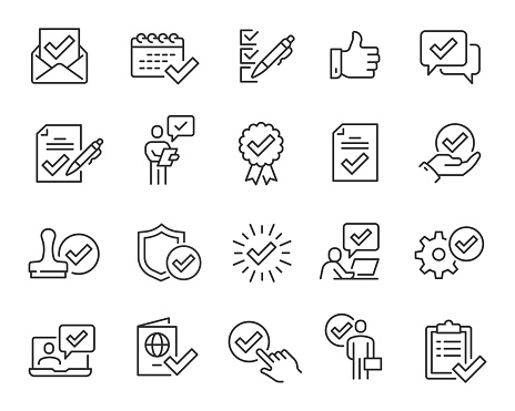Approval and Check Marks Updated Icons Set. Collection of simple linear web icons such Approval of Files, Settings, Date, Person, Letters, Check Mark with Shield, Stamp, Documents and others. Editable vector stroke.