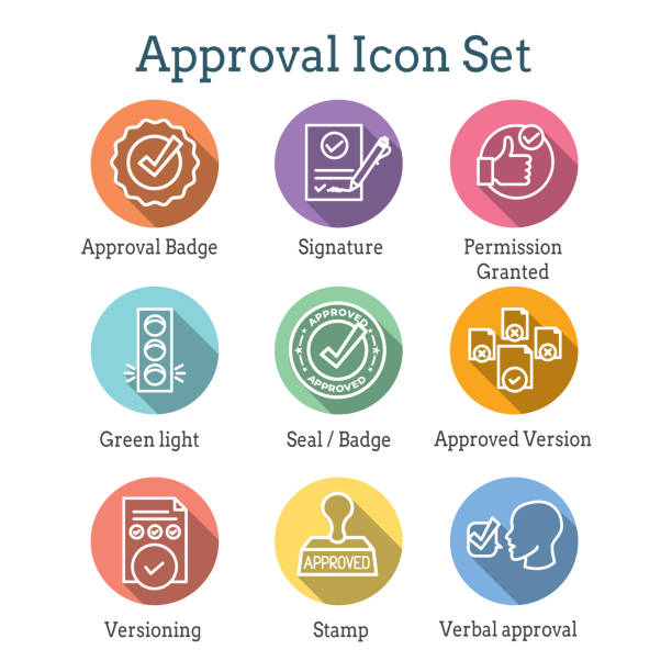 Approval and Signature Icon Set with Stamp & version icons Approval & Signature Icon Set with Stamp and version icons validation stock illustrations