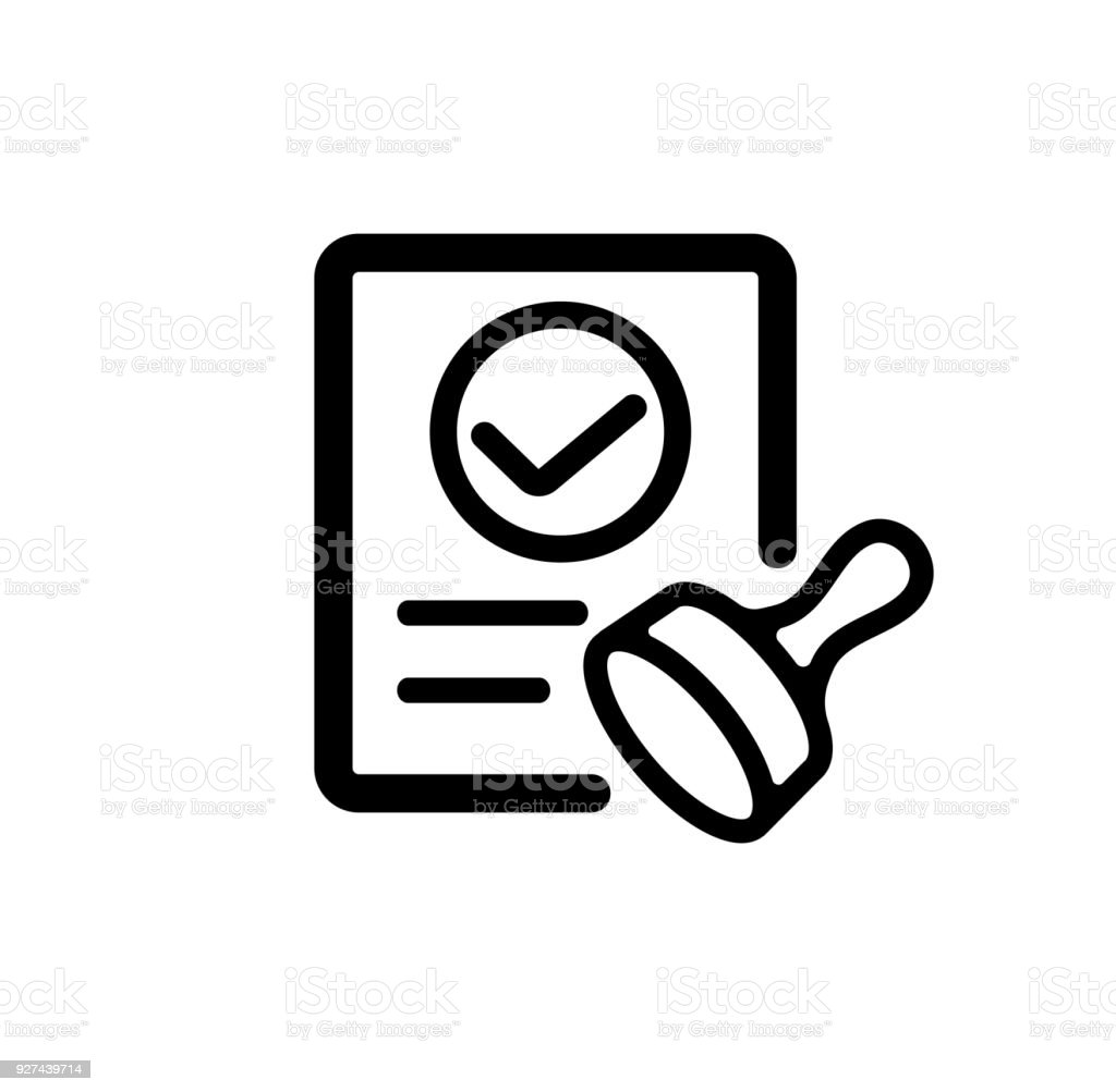 approval / consent / qualified icon vector art illustration