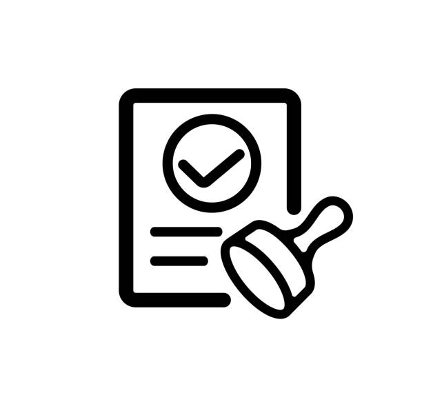 approval / consent / qualified icon - autorytet stock illustrations