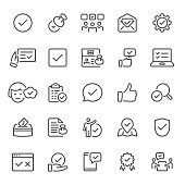 Approval, agreement, tick, stamp, icon, icon set, check mark