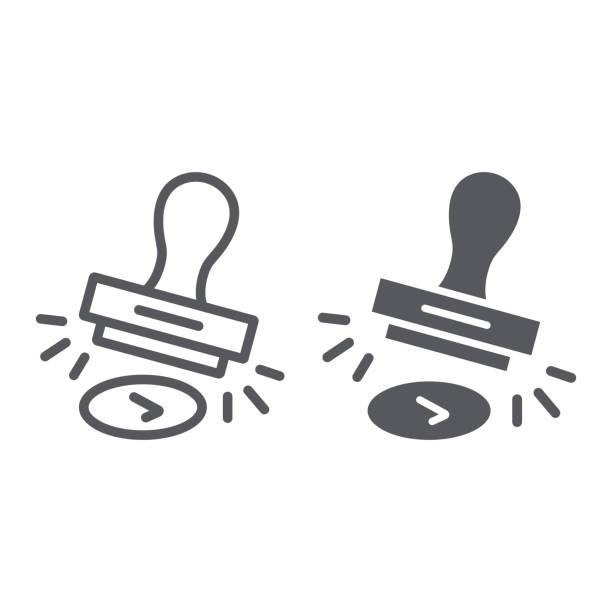 linia stempla zatwierdzenia i ikona glifów, zezwalaj i stemplowanie, znak stempla gumowego, grafika wektorowa, wzór liniowy na białym tle. - pieczęć gumowa stock illustrations