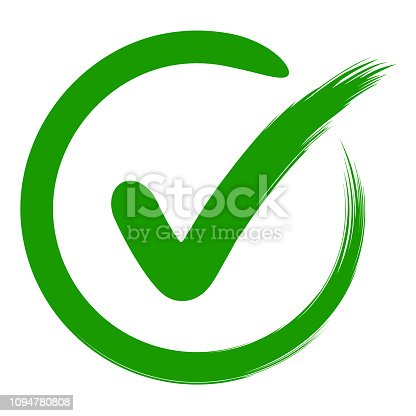 approval symbol is a check mark in a circle, drawn by hand, vector green sign OK approval or development checklist. personal choice mark