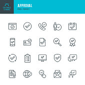 Approval - thin linear vector icon set. 20 linear icon. Pixel perfect. Editable stroke. The set contains icons: Approved, Date Approved, Protected, Check Mark, Certificate, Agreement update.