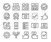 Approve icon. Approved and Check mark line icons set. Editable stroke. Pixel Perfect