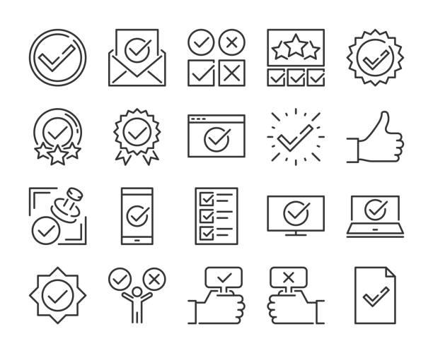 zatwierdź ikonę. zestaw ikon linii zatwierdzonych i znaczników wyboru. edytowalne obrys. pixel perfect. - obsługa stock illustrations