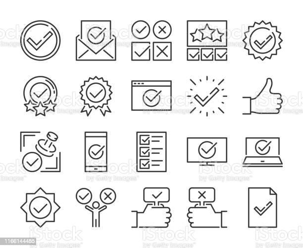 Vetores de Aprovar Ícone Ícones De Linha Aprovados E De Marca De Verificação Ajustados Traço Editável Pixel Perfeito e mais imagens de Acariciando