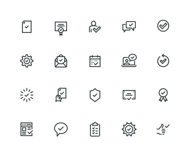 zatwierdzanie zestawu ikon — seria grubej linii - prostota stock illustrations