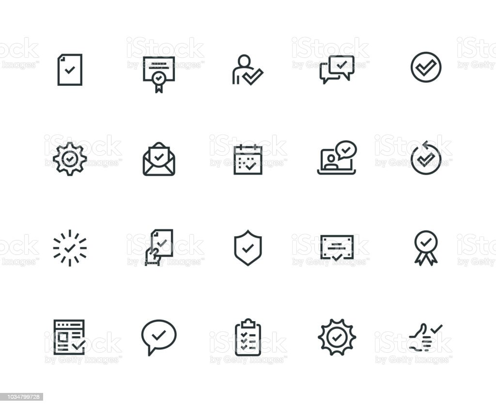 Approve Icon Set - Thick Line Series vector art illustration