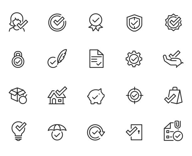 Approve icon set Approve icon set receiving stock illustrations