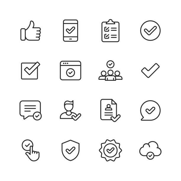 genehmigen von symbolen. bearbeitbarer strich. pixel perfekt. für mobile und web. enthält symbole wie genehmigen, vereinbarung, qualitätskontrolle, zertifikat, prüfzeichen, leistung, garantie. - bekommen stock-grafiken, -clipart, -cartoons und -symbole