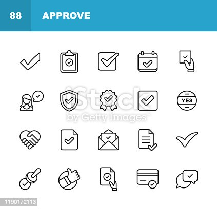 20 Approve Outline Icons.