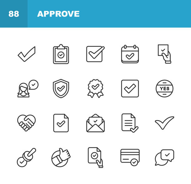 Approve Icons. Editable Stroke. Pixel Perfect. For Mobile and Web. Contains such icons as Approve, Agreement, Quality Control, Certificate, Check Mark, Achievement, Guarantee. 20 Approve Outline Icons. confidence stock illustrations