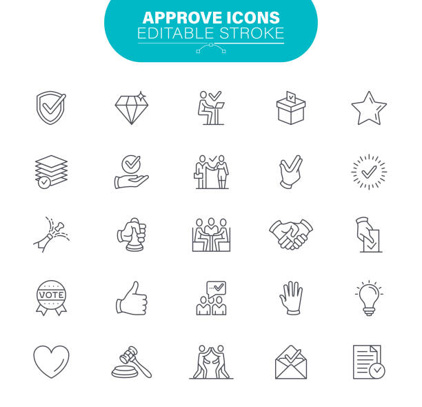 Approve Line Icons. Editable Stroke. Contains such icon as Agreement, Quality Control, Check Mark, illustration vector art illustration
