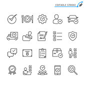 Approve line icons. Editable stroke. Pixel perfect.