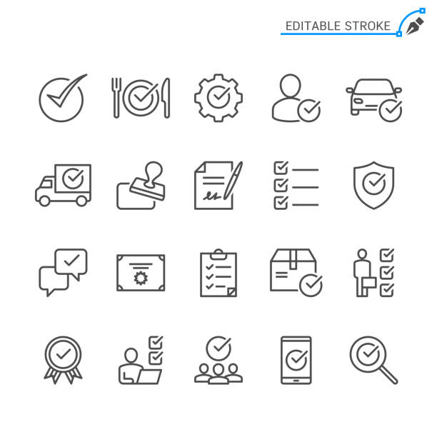 Approve line icons. Editable stroke. Pixel perfect. Approve line icons. Editable stroke. Pixel perfect. personal land vehicle stock illustrations