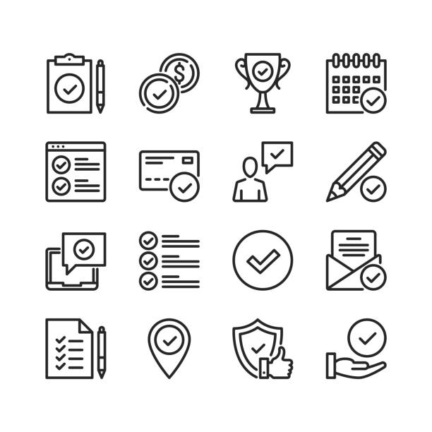 Approve line icons. Modern stroke, linear elements. Outline symbols collection. Premium quality. Pixel perfect. Vector thin line icons set vector art illustration