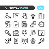 Approve line icons. Outline symbols collection. Modern stroke, linear elements. Premium quality. Pixel perfect. Vector thin line icons set