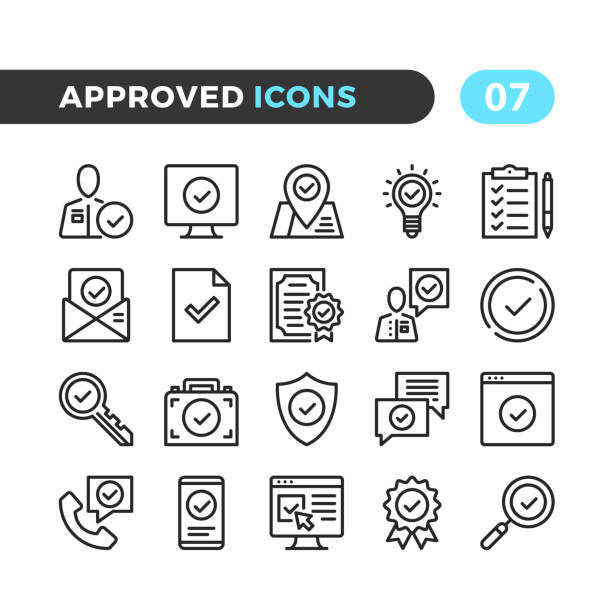 approve line icons. outline symbols collection. modern stroke, linear elements. premium quality. pixel perfect. vector thin line icons set - thin line icons stock illustrations, clip art, cartoons, & icons