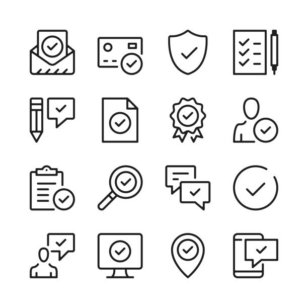illustrazioni stock, clip art, cartoni animati e icone di tendenza di approve line icons set. check marks, ticks, guarantee, verified, certification concepts. modern graphic design concepts, simple outline elements collection. vector line icons - icona line
