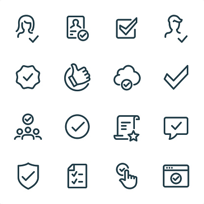 Approved and Checked - Pixel Perfect Unicolor line icons