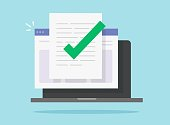 istock Approved and confirmed document file check online on laptop computer or quality control of text writing and creating icon flat cartoon, concept of digital accepted or certified license paper form 1239295086