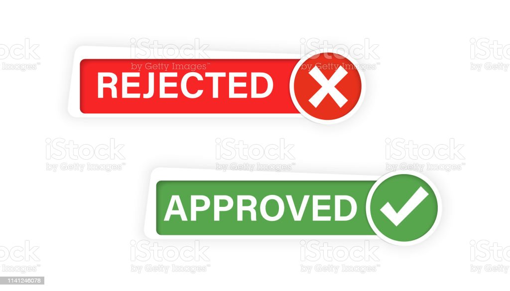 Approved And Rejected Check Mark And Cross Mark Buttons