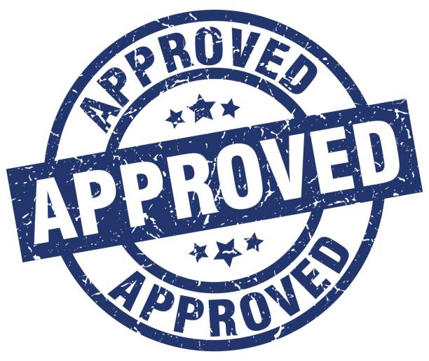 approved blue round grunge stamp vector art illustration