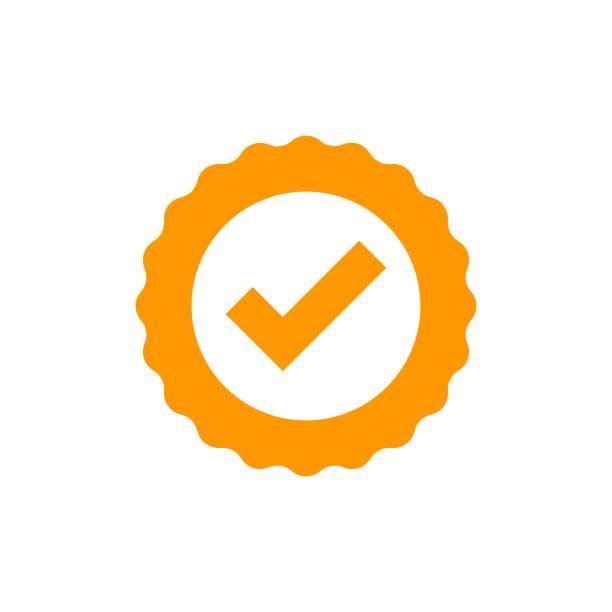 zertifikat-medaille-symbol im flachen stil genehmigt. häkchen-stempel-vektor-illustration auf weißem hintergrund isoliert. angenommen, seal award geschäftskonzept. - reliability stock-grafiken, -clipart, -cartoons und -symbole