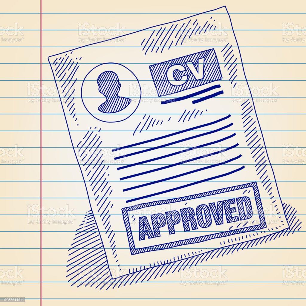 dessin de cv approuv u00e9 sur papier rev u00eatu vecteurs libres de droits et plus d u0026 39 images vectorielles