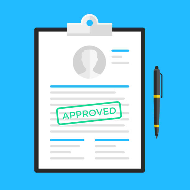 Approved document, application form, submission, resume. Clipboard and document with approved stamp and pen. Flat design. Vector illustration Approved document, application form, submission, resume. Clipboard and document with approved stamp and pen. Flat design. Vector illustration lease agreement stock illustrations