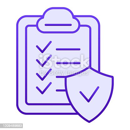 Approved document flat icon. Checkboard blue icons in trendy flat style. Verified list gradient style design, designed for web and app. Eps 10