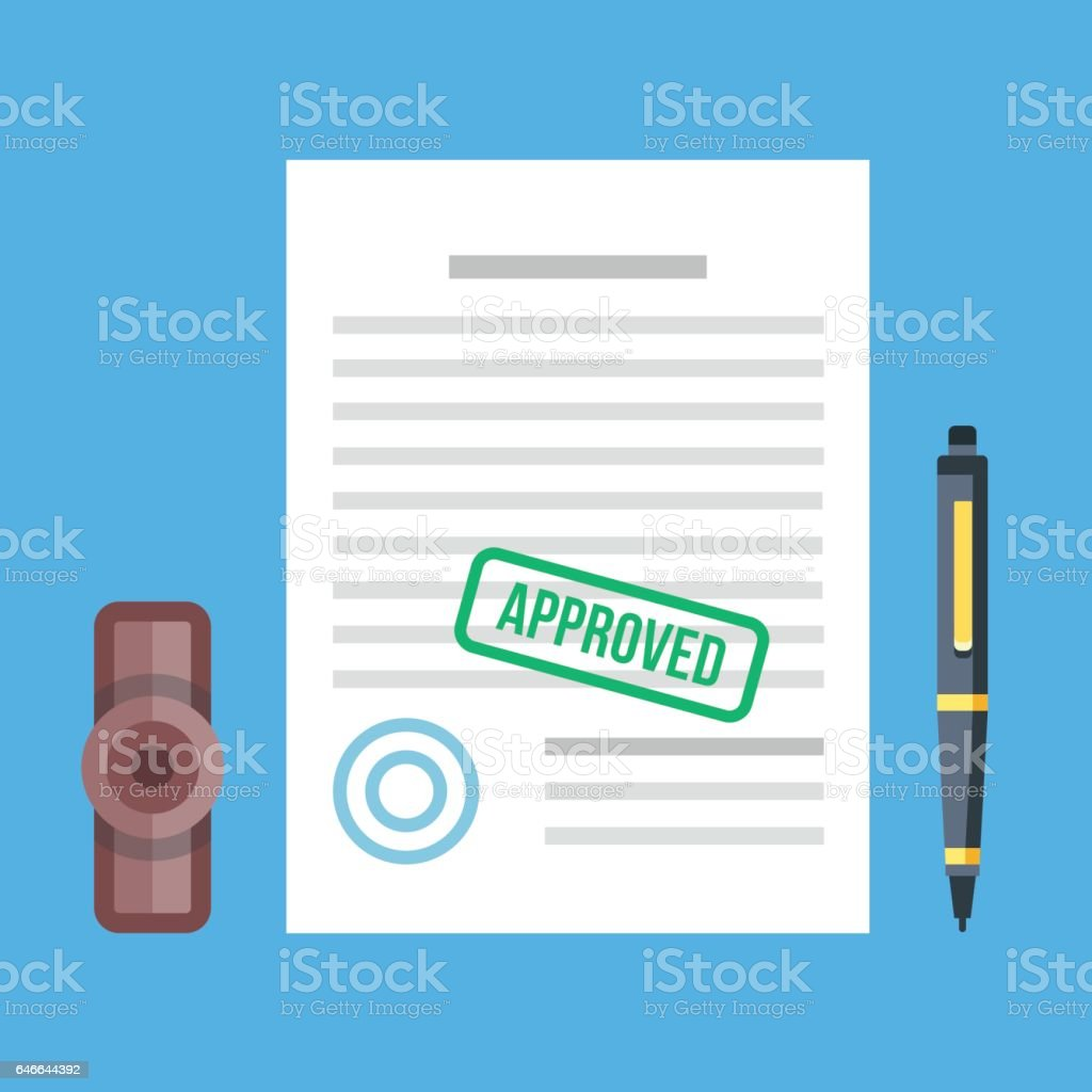 Approved document with stamp and pen. Approved application concepts. Top view. Modern flat design graphic elements set. Vector illustration vector art illustration