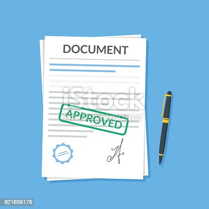 Approved document with stamp and pen. Modern flat design graphic elements. Approved application concepts. Vector illustration in flat style isolated on color background. Top view