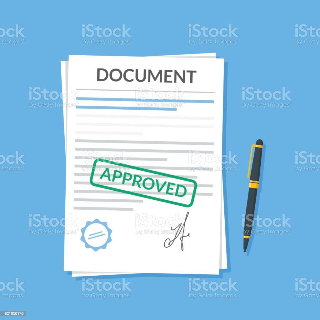 Approved document with stamp and pen. Modern flat design graphic elements. Approved application concepts. Vector illustration in flat style isolated on color background. Top view. - illustrazione arte vettoriale