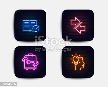 Neon set of Approved documentation, Luggage and Synchronize icons. Idea sign. Instruction book, Baggage locker, Communication arrows. Professional job. Neon book icons. Glowing light banners