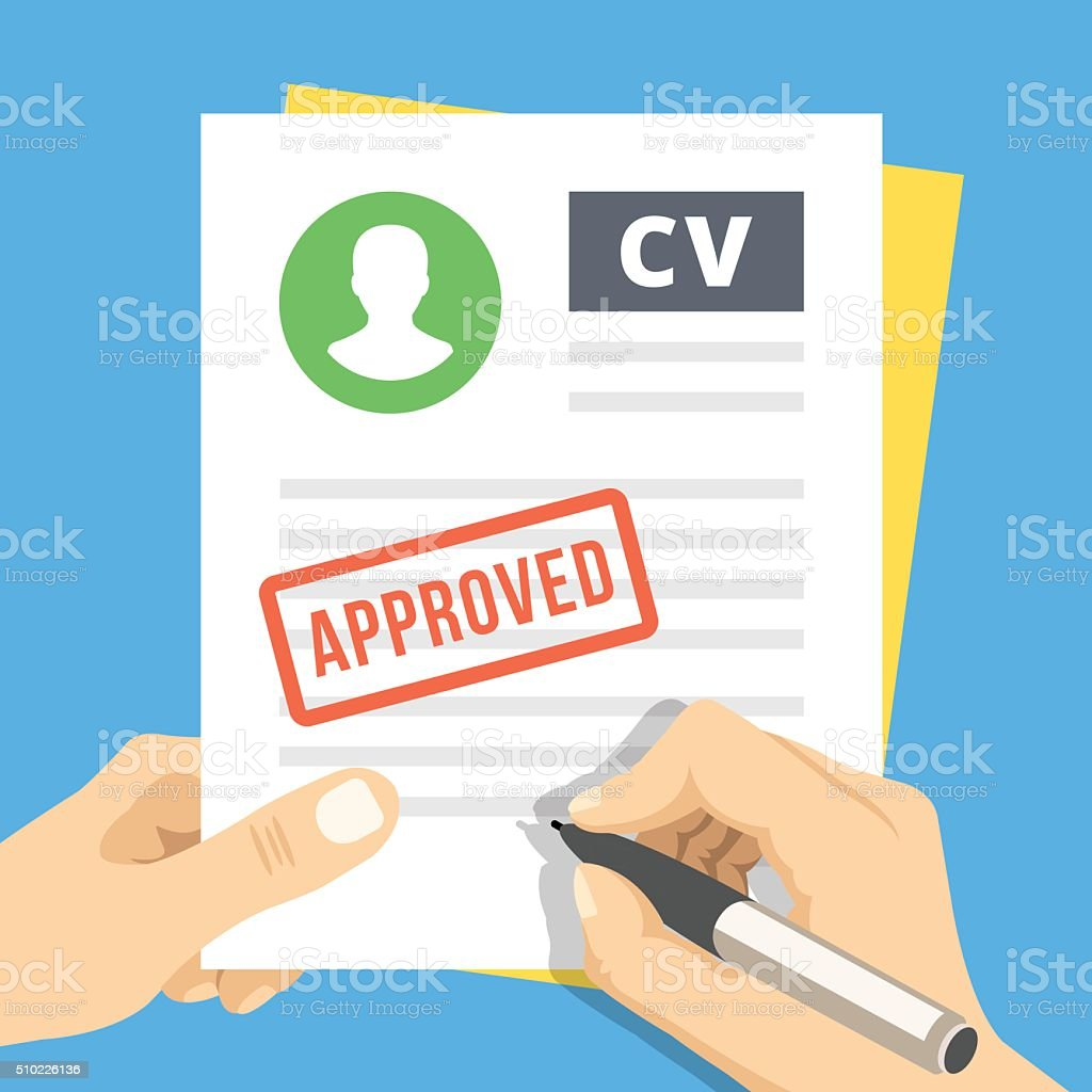 cv approved hand with pen sign a job application stock vector art  u0026 more images of agreement