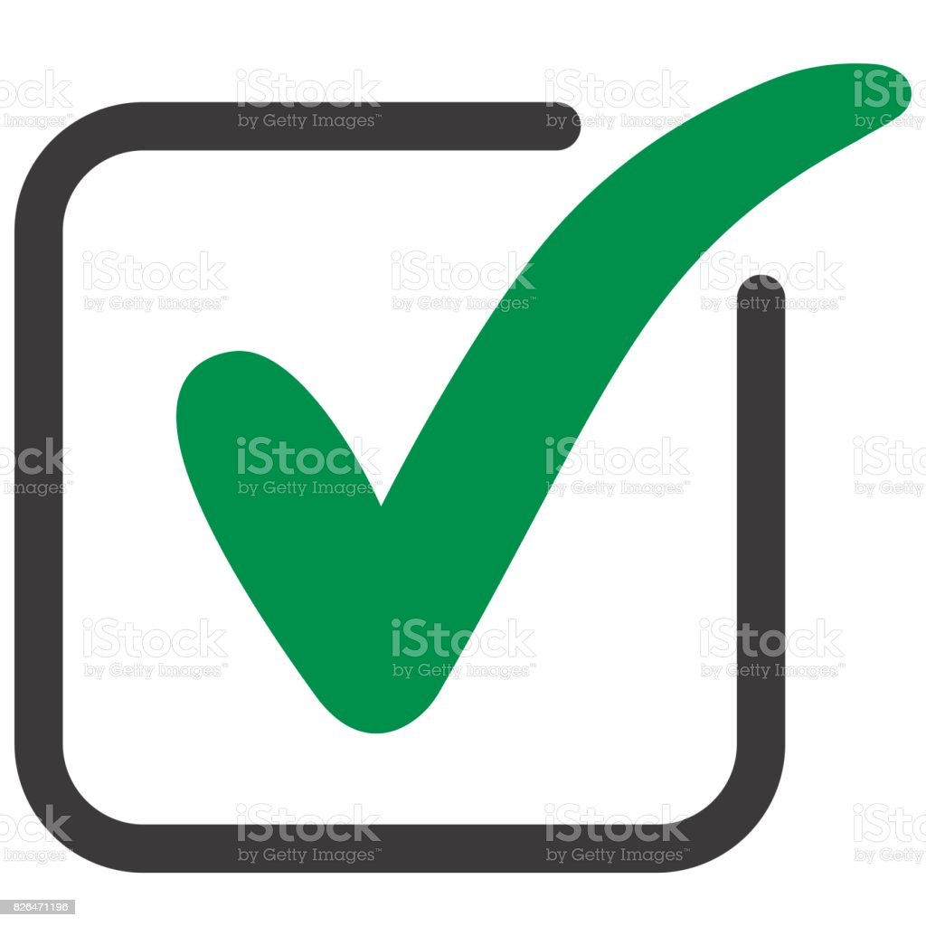 approved icon square with a green tick vector art illustration