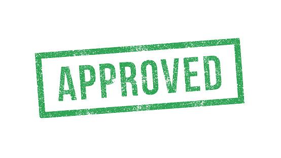 Vector illustration of Approved green ink stamp