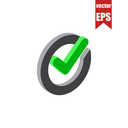 Approved isometric icon.Vector illustration.