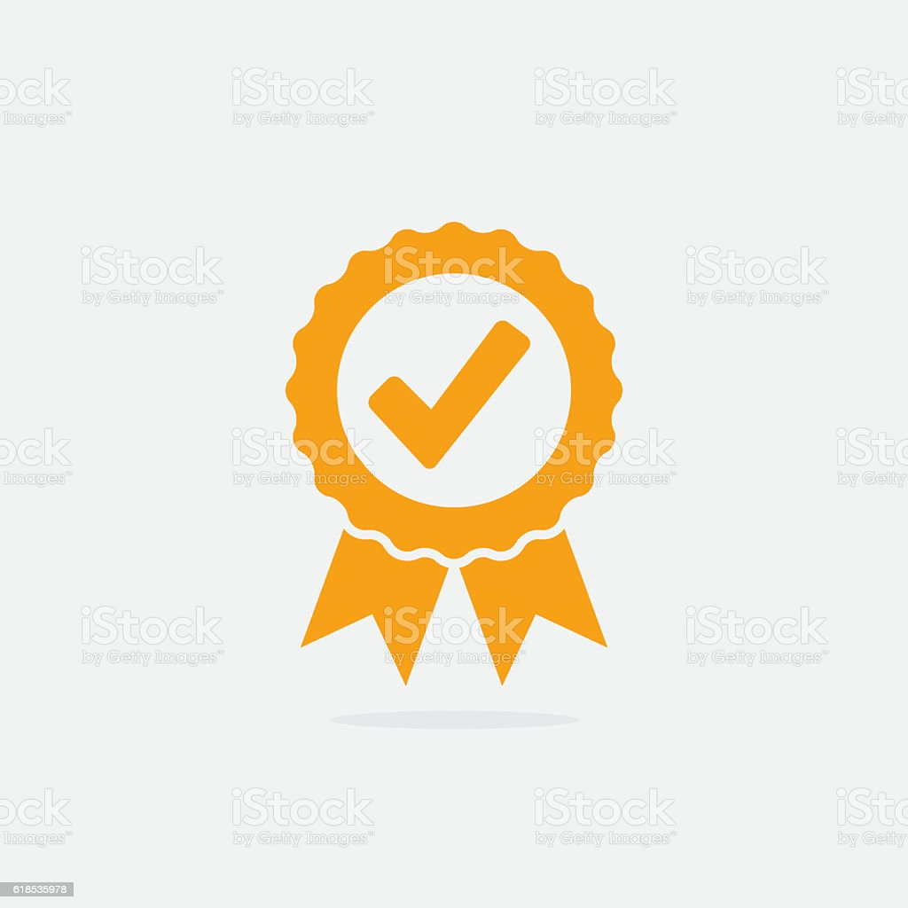 Approved or Certified Medal Icon vector art illustration