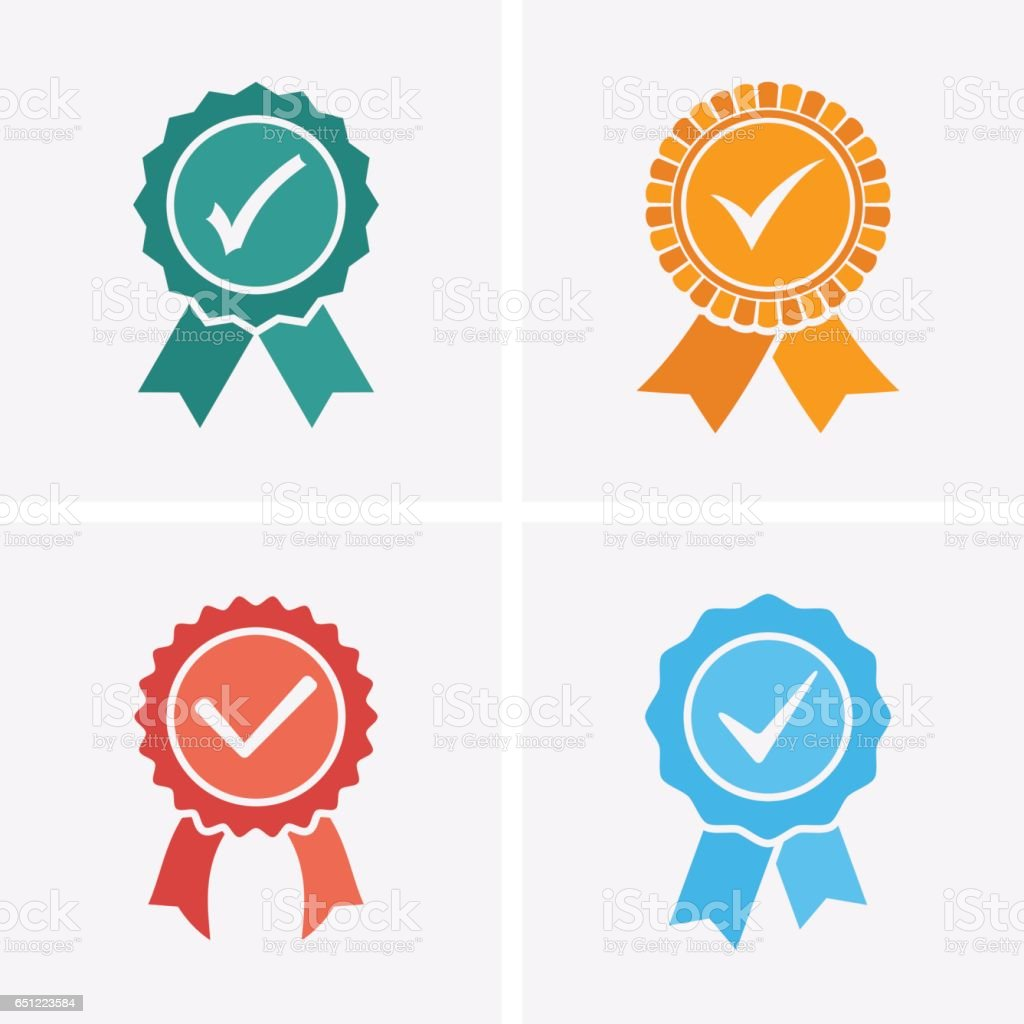 Approved or Certified Medal Icons. vector art illustration