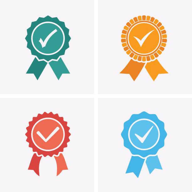 Approved or Certified Medal Icons. - illustrazione arte vettoriale