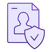 Approved personal document flat icon. Checked identity blue icons in trendy flat style. Paper gradient style design, designed for web and app. Eps 10
