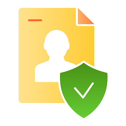 Approved personal document flat icon. Checked identity color icons in trendy flat style. Paper gradient style design, designed for web and app. Eps 10.