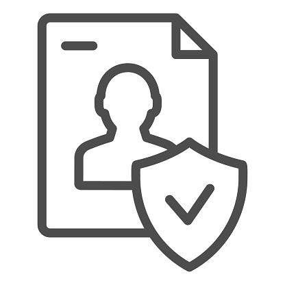 Approved personal document line icon. Checked identity vector illustration isolated on white. Paper outline style design, designed for web and app. Eps 10.
