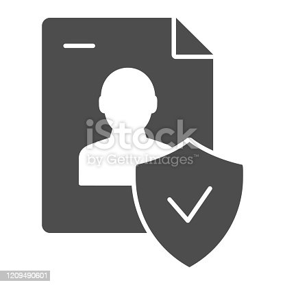 Approved personal document solid icon. Checked identity vector illustration isolated on white. Paper glyph style design, designed for web and app. Eps 10