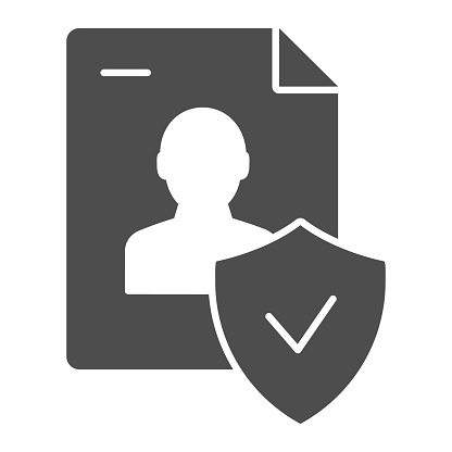 Approved personal document solid icon. Checked identity vector illustration isolated on white. Paper glyph style design, designed for web and app. Eps 10.