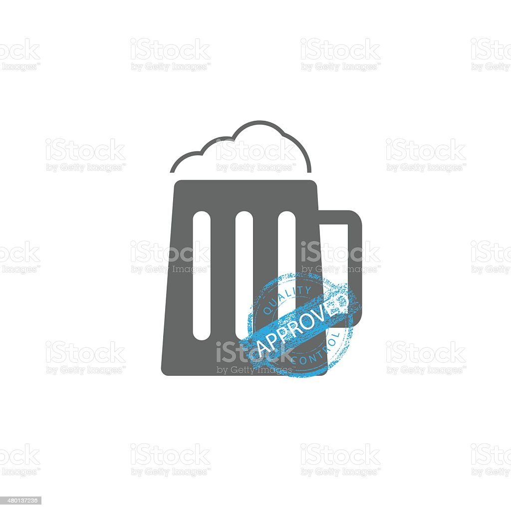 Approved Quality control Beer vector art illustration