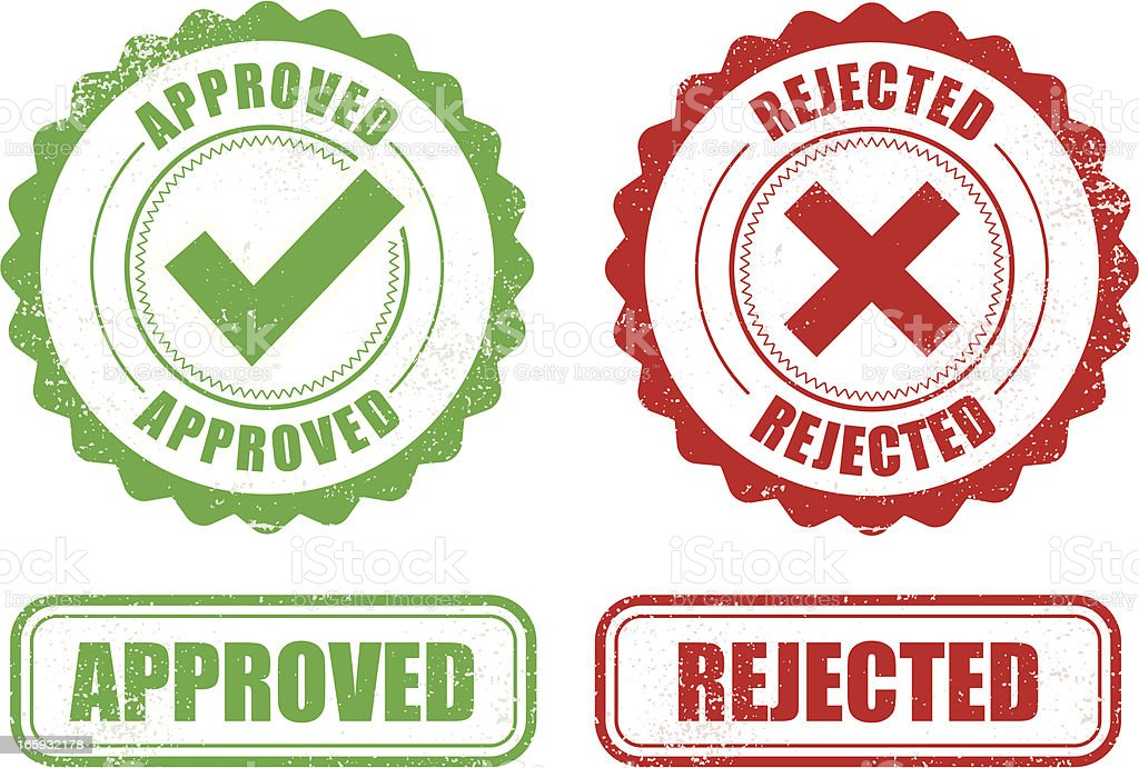 Approved Rejected stamps royalty-free stock vector art